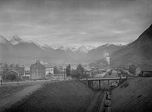 Åndalsnes Station - The station in 1948 with the cutting in the foreground