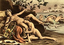 A painting of a nude woman, lying on a rock, and holding a lyre, while a second woman, kneeling, performs cunnilingus on her.  In the background, one mermaid performs cunnilingus on another, and a different pair of mermaids kiss.  A Greek temple is visible behind them.