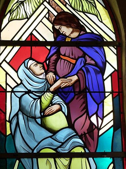 Marie et Élisabeth enceintes, église de Juillac (Gironde), 2001