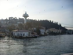 A view of Kanlıca with the Bosphorus ferry pier and Fatih Sultan Mehmet Bridge at right