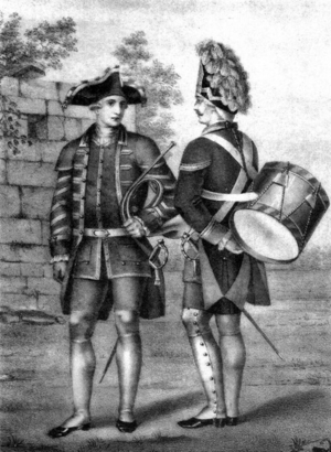 Semyonovsky Regiment - A musician from the Semyonovsky regiment (at left), mid-18th century