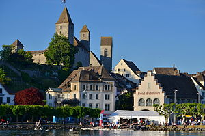 Johann I (Habsburg-Laufenburg) - Rapperswil and its ''Schloss'' on the ''Lindenhof'' hill