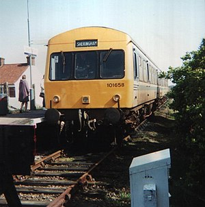 Railway stations in Cromer - A British Rail Class 101 in Regional Railways livery.