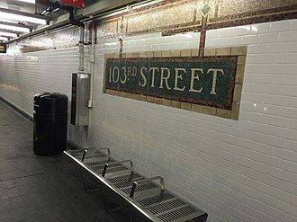 103rd Street (IRT Lexington Avenue Line) - Image: 103 St SB platform post renovation