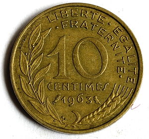 English: 10 French centimes