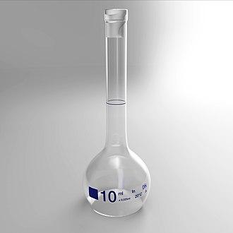 Volumetric flask - A 10 ml volumetric flask (without glass stopper, 3D model).