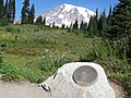 10th Mountain Division plaque on a boulder with view of Rainier. (a9bb3fc9f3564ad48ff618e7fb8a9392).JPG