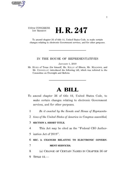 File:116th United States Congress H. R. 0000247 (1st session) - Federal CIO Authorization Act of 2019 A - Introduced in House.pdf
