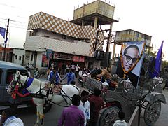 126th Ambedkar Jayanti in Jafrabad City, Jalna District, Maharashtra 01.jpg