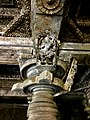 12th-century carved pillar and dancer inside Shaivism Hindu temple Hoysaleswara arts Halebidu Karnataka India, inscription below.jpg