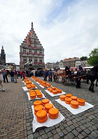 Gouda cheese - Rounds of Gouda at a cheese market in Gouda