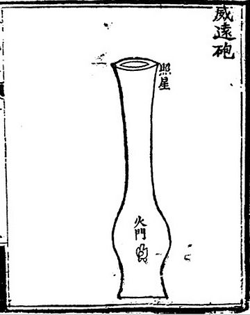 A depiction of an early vase-shaped cannon dated from around 1350 AD. The illustration is from the 14th century Ming Dynasty book Huolongjing. 1350 AD early Chinese vase-shaped cannon.jpg