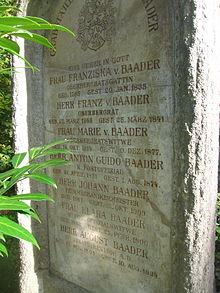Grab von Franz v. Baader auf dem Alten Südlichen Friedhof in München (Quelle: Wikimedia)