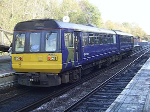 Hunts Cross railway station - Northern Rail unit 142031 in Platform 2 on a Manchester Oxford Road service.