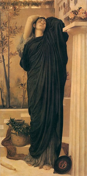 Oedipus complex - Female Oedipus attitude: Electra at the Tomb of Agamemnon, by Frederic Leighton, (c.1869).