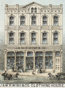 Engraving of a store-front building titled J. & W. R. Wing & Co. clothing house
