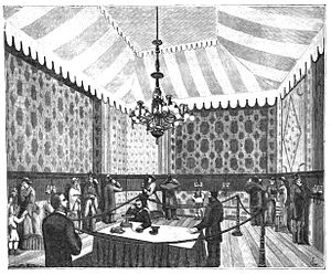 Telephone newspaper - Image: 1881 Paris Electrical Exhibition telephone listening room