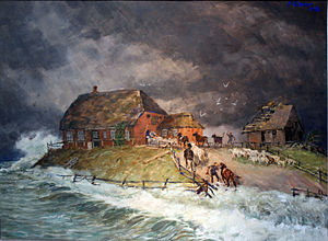Halligen - Alexander Eckener: Warft of a Hallig during a storm tide, 1906