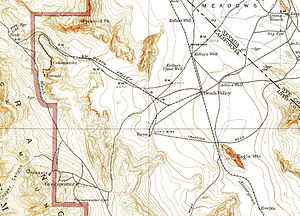 Death Valley Railroad - A map of the Death Valley Railroad running from Death Valley Junction all the way up to the mines at Ryan near Colemanite