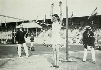 High jump - Konstantinos Tsiklitiras during the standing high jump competition at the 1912 Summer Olympics