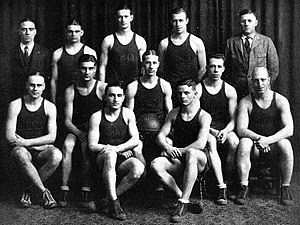 1922–23 Michigan Wolverines men's basketball team - 1922–23 Michigan Wolverines men's basketball team Back (from left): Bert  Uebele, Harry Kipke, Arthur McWood, William Henderson, E. J. Mather Middle (from left): Howard Birks, William Rice, Gilbert Ely, William Piper, Franklin Cappon Front (from left): Meyer Paper, George Haggerty