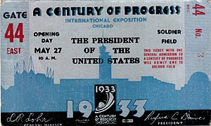 Century of Progress - Ticket for the opening day ceremonies at Soldier Field