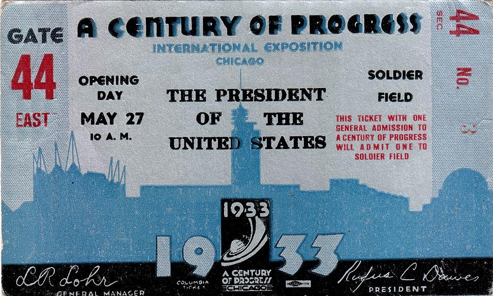 1933 Century of Progress Opening Day Ticket