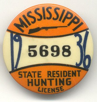 Mississippi Department of Wildlife, Fisheries, and Parks - A State of Mississippi hunting license pin from 1936.