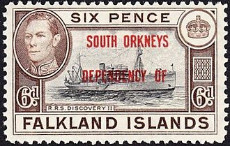 South Orkney Islands - A 1944 stamp of the Falkland Islands overprinted for use in the South Orkneys.