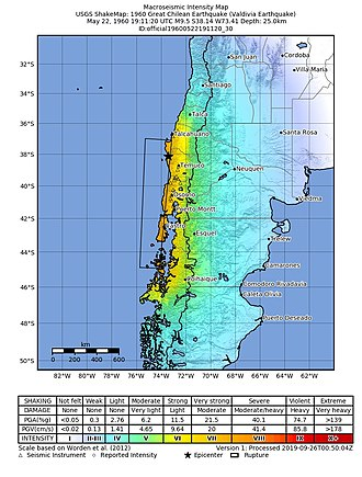 1960 Valdivia earthquake - USGS ShakeMap for the mainshock