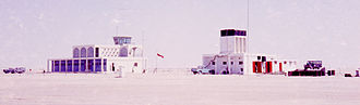 Dubai International Airport - The airport's fire station and control tower seen from landside, constructed in early 1959