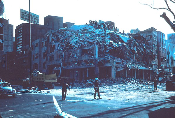 Mexico city - Building collapsed. 1985 Mexico Earthquake - Building collapsed.jpg
