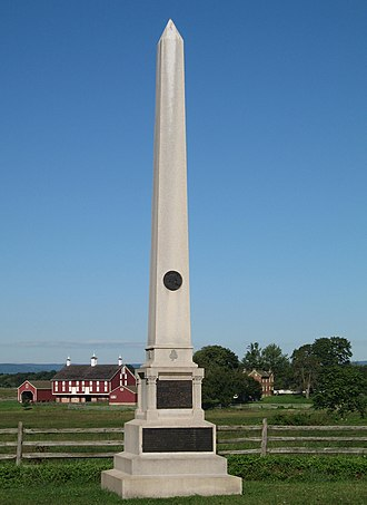 1st Minnesota Volunteer Infantry - July 3 Monument to 1MN Regiment, flanked by the barn and farm house of the Codori family
