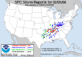 2008 Super Tuesday tornado outbreak Storm Prediction Center reports 5 February.png