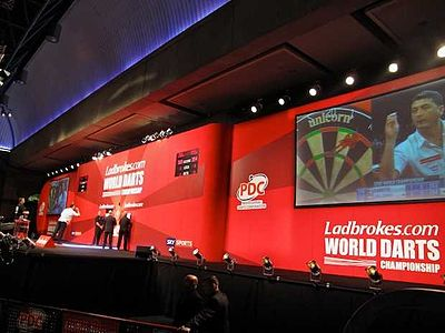 The stage at the 2009 World Championship. 2009 World Darts Championship.jpg