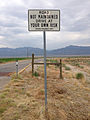 2014-07-18 09 46 04 Sign noting lack of road maintenance at the south end of Nevada State Route 895 in Preston, Nevada.JPG