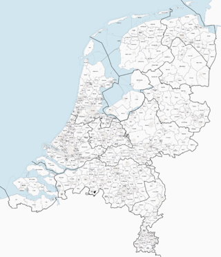 Map showing the municipal boundaries in the Netherlands in 2015