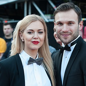 Lithuania in the Eurovision Song Contest 2015 - Monika Linkytė and Vaidas Baumila at the Eurovision Song Contest opening ceremony