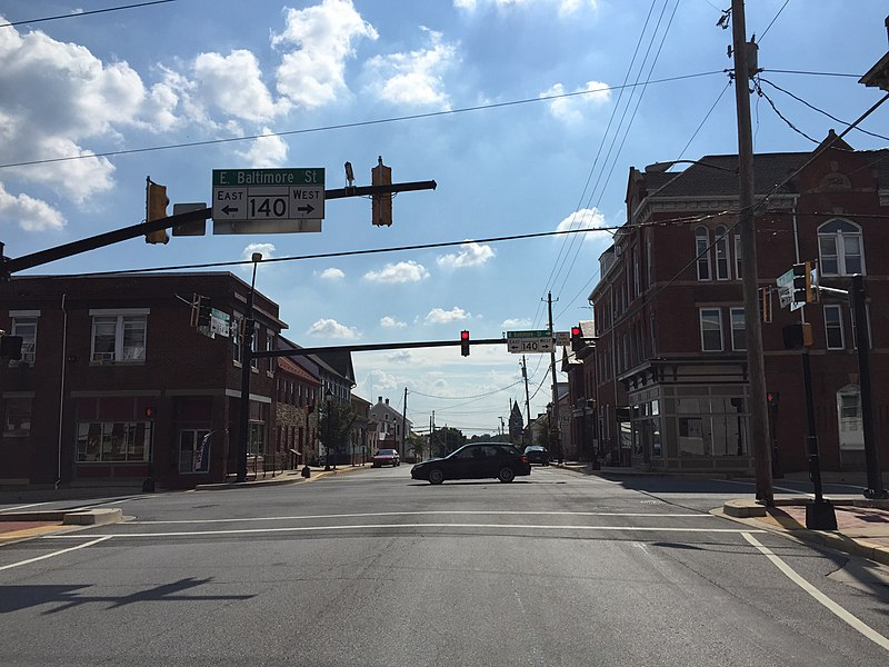 File:2016-08-20 15 53 21 View south along Maryland State Route 194 (York Street) at Maryland State Route 140 (Baltimore Street) in Taneytown, Carroll County, Maryland.jpg
