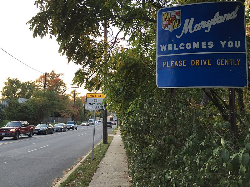"File:2016-10-19 17 54 14 ""Maryland Welcomes You"" sign along westbound Maryland State Route 190 (River Road) at Western Avenue NW, entering Bethesda, Montgomery County, Maryland from Washington, D.C..jpg"
