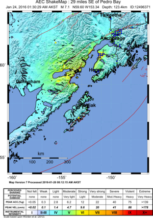2016 Old Iliamna earthquake - Image: 2016 Old Iliamna earthquake shakemap
