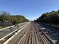 2018-10-23 13 24 16 View east along Interstate 66 and the Orange and Silver lines of the Washington Metro from the overpass for Haycock Road (Virginia State Route 703) in McLean, Fairfax County, Virginia.jpg