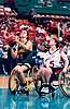 Australian women's wheelchair basketballer Liesl Tesch shoots from inside the key in the game against the US at the 1996 Atlanta Paralympic Games.