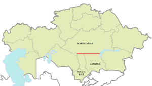 46th parallel north - In the Kazakhstan, the parallel defines part of the border between Karaganda Region, South Kazakhstan Region and Jambyl Region.