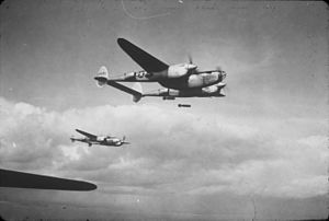 495th Fighter Group - 1943: Three P-38 Lightnings, AAF Ser. No. 42-68184 and two comrades, of the 495th Fighter Training Group in flight.
