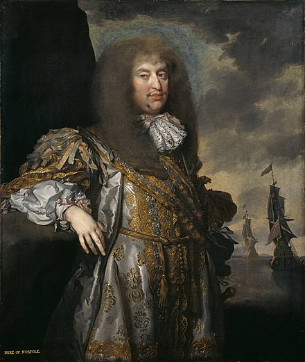 Portrait of Henry Howard by Gilbert Soest, c. 1670-1675. This portrait was once part of the Lenthall collection and is now owned by the Tate Gallery. 6thDukeOfNorfolk.jpg