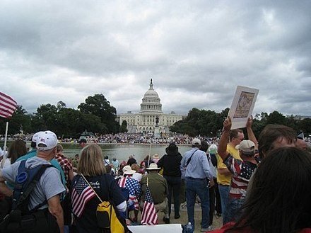 Protesters from the Tea Party movement, a right-wing populist formation in the United States 9.12 tea party in DC.jpg