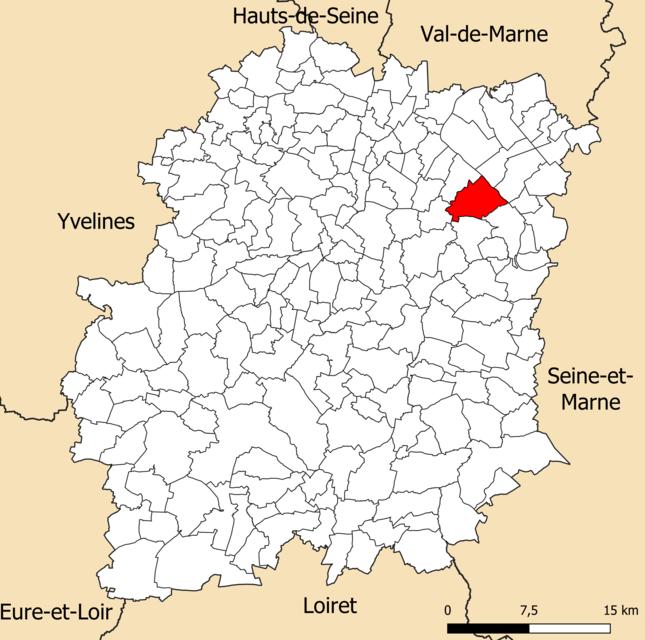 Localisation de la commune d'Évry-Courcouronnes dans le département de l'Essonne.