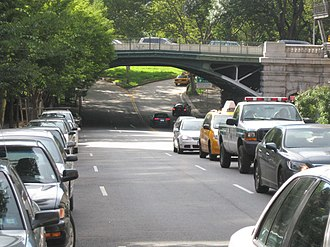 96th Street (Manhattan) - 96th Street runs under Riverside Drive near its western end