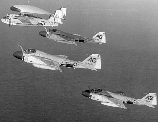 A-6As VA-75 and VAW-125 E-1B in flight 1966